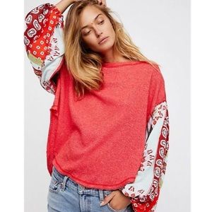 Free People Blossom Thermal Balloon Sleeve Top.